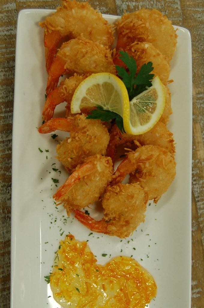 Coconut Shrimp with the Captain's Orange Horseradish